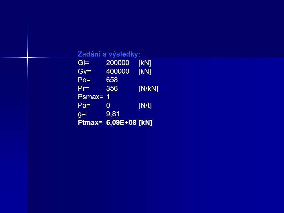 Zadání a výsledky: Gl= 200000 [kN] Gv= 400000 [kN] Po= 658 Pr= 356 [N/kN] Psmax= 1 Pa= 0 [N/t]